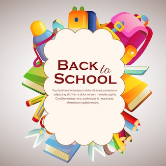 Happy back to school cloud with stationary