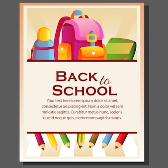Happy back to school poster with all stationary