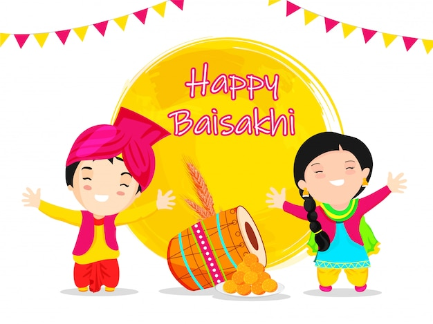 Happy baisakhi festival with cute punjabi couple, traditional instrument, sweet, and wheat ear.
