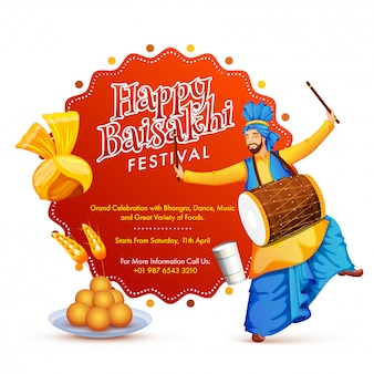 Happy baisakhi festival with dancing punjabi man playing traditional instrument, sweets and turban.
