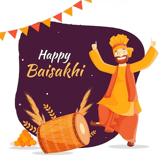 Happy baisakhi festival with dancing punjabi man, traditional instrument, and sweet.