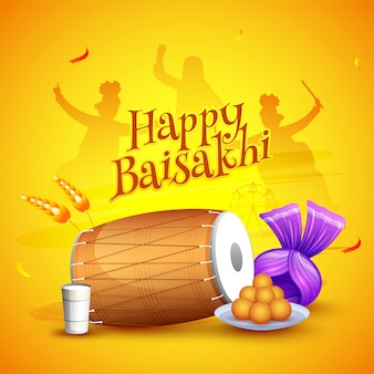Happy baisakhi festival with dancing punjabi people silhouette, traditional instrument, sweets and turban.