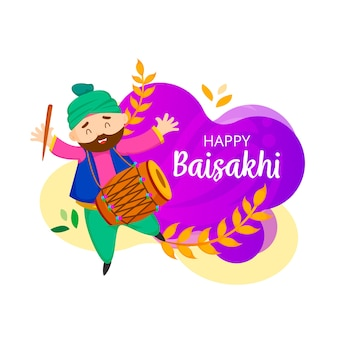 Happy baisakhi flat design
