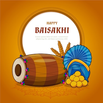 Happy baisakhi with traditional musical instrument
