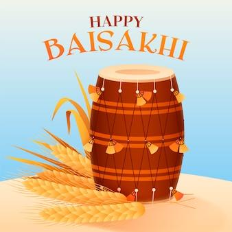 Baisakhi felice con grano e tamburo