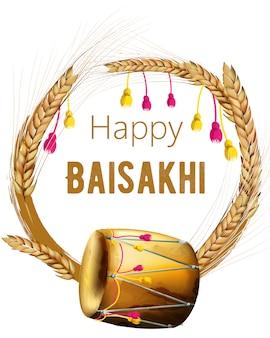 Baisakhi felice con ghirlanda di spezie di grano