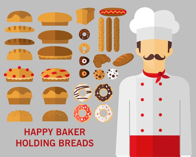 Happy baker holding breads concept background.