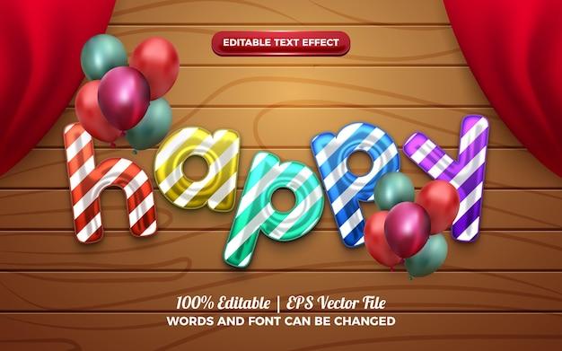 생일 축하를 위한 happy baloon 3d 액체 편집 가능한 텍스트 효과