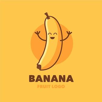 幸せなバナナのキャラクターのロゴ