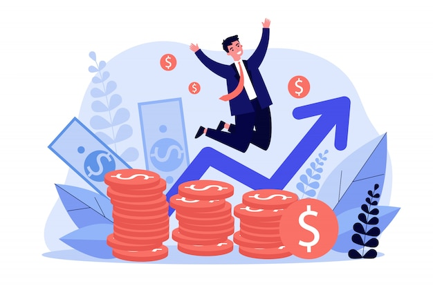 Happy banker jumping over coins
