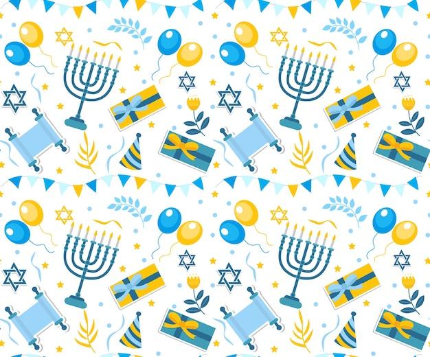 ハッピーバーミツワーシームレスパターン。ユダヤ教の祝日の誕生日が繰り返されます。