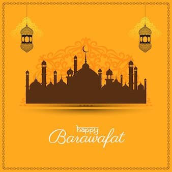 Happy barawafat festival yellow greeting card