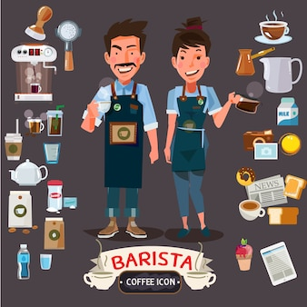 Happy barista man and women holding cup and jug