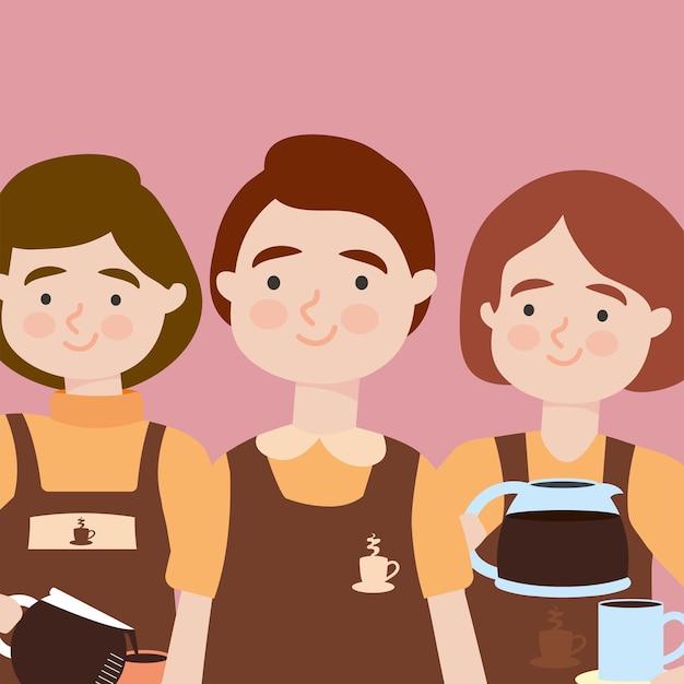Happy baristas women illustration design