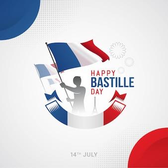 フランスのベクトル図で幸せなフランス革命記念日のバナーのお祝い