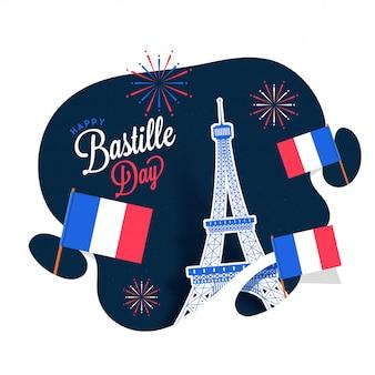 Happy Bastille Day celebration background