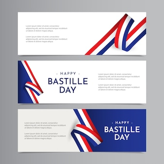 Happy bastille day celebration template design illustration