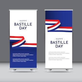 幸せなフランス革命記念日のお祝いテンプレートデザインイラスト