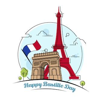 幸せなバスティーユの日のお祝いのベクトル