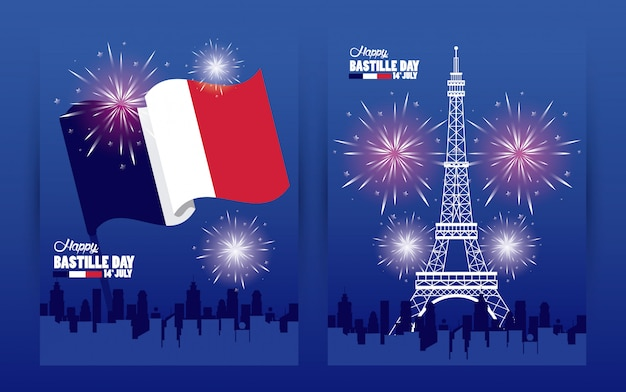 Happy bastille day celebration with tower eiffel and fireworks