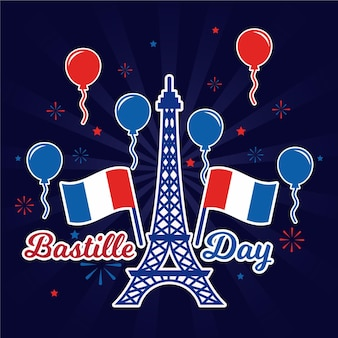 Happy bastille day eiffel tower and balloons