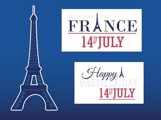 Happy bastille day eiffel tower cards