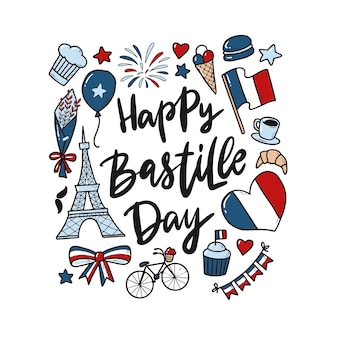 Happy bastille day quote with doodles