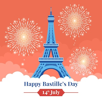 Happy bastille day with fireworks and eiffel tower