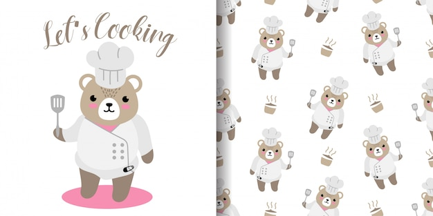 Happy bear cooking seamless pattern with illustration cartoon baby shower card