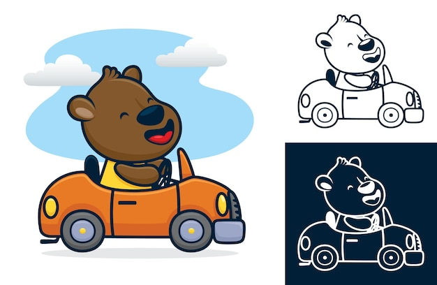 푸른 하늘 배경에 차를 운전하는 행복 한 곰. 플랫 스타일의 만화 그림