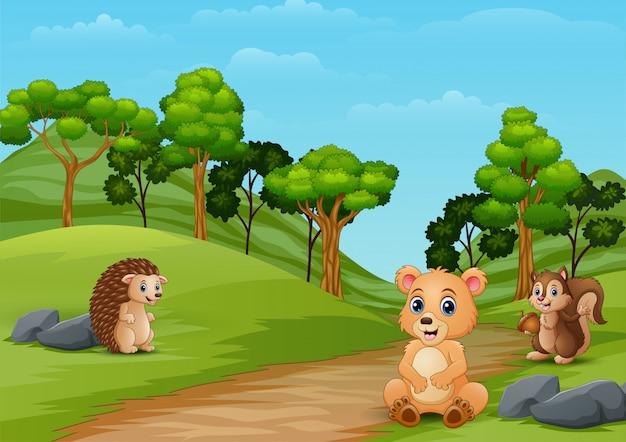 Happy bear and hedgehog enjoying on the hill