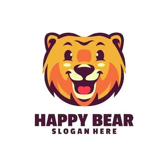 白で隔離される幸せなクマのロゴ