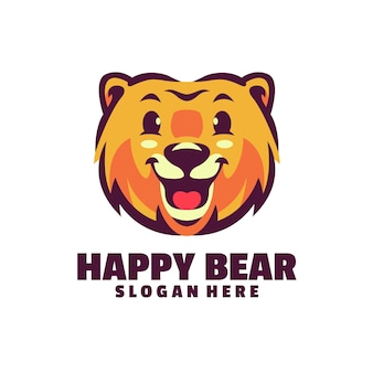 Happy bear logo isolated on white