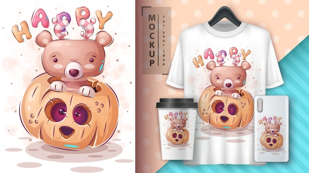 Счастливый медведь - плакат и мерчендайзинг