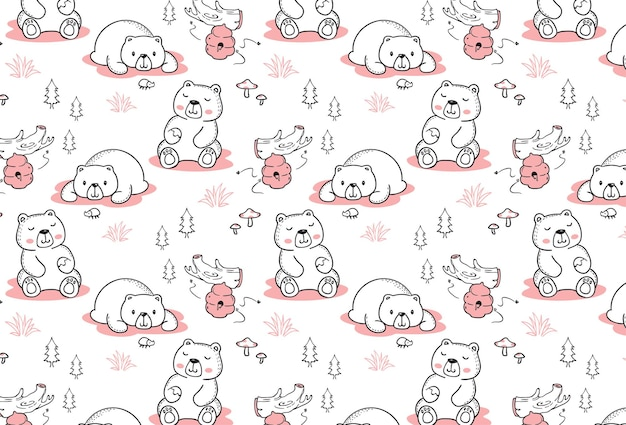 Happy bear seamless pattern