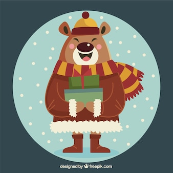 Happy bear with winter accessories and gifts