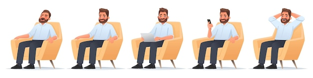 Happy bearded man sits in a chair businessman sleeps works laptop reads news in a smartphone