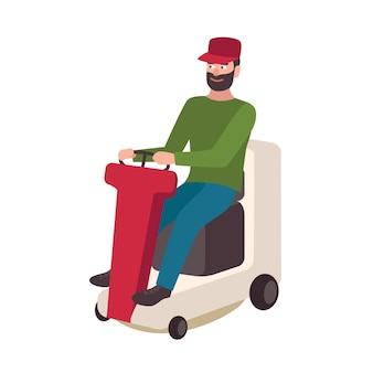 Happy bearded man sitting on lawn mower isolated on white background