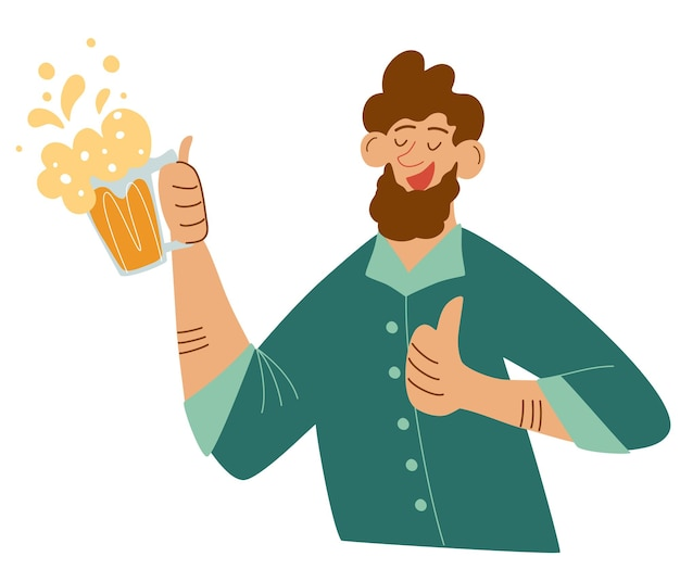 Happy bearded man with mug of beer. making celebratory toast. guy holding beer drink and having fun. vector illustration for bars, menus, alcoholic drinks logo, oktoberfest.