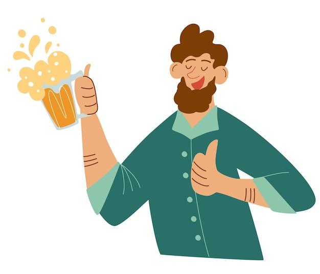 ビールのジョッキと幸せなひげを生やした男。お祝いの乾杯を作ります。ビールを飲みながら楽しんでいる男。バー、メニュー、アルコール飲料のロゴ、オクトーバーフェストのベクトルイラスト。