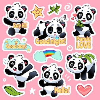 Happy bears expression for emoji patches design, cool asian animals badges for kids vector pandas characters with heart and rainbow