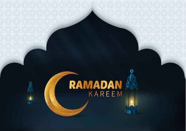 Happy beautiful ramadan kareem background illustration