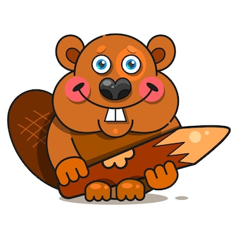 Happy beaver character in flat style.