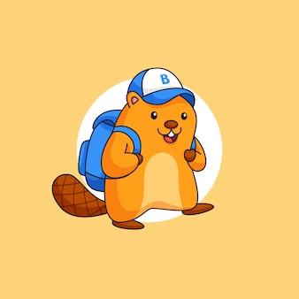 Счастливый бобер в шляпе и сумке идет в школу для изучения набросков иллюстрации талисмана