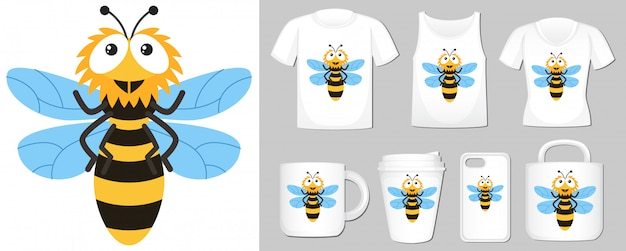 Of happy bee on different types of product template