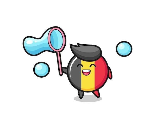 ハッピーベルギー国旗バッジ漫画シャボン玉を再生、tシャツ、ステッカー、ロゴ要素のかわいいスタイルのデザイン