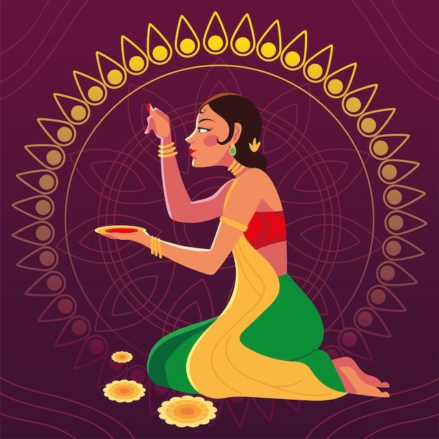 행복 bhai dooj와 그릇 디자인, 축제 및 축하 테마와 인도 여자 만화