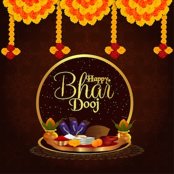 Happy bhai dooj background with merigold and puja thali