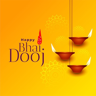 Happy bhai dooj beautiful yellow greeting card