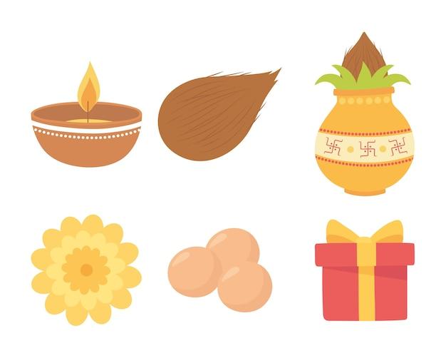 Happy bhai dooj, burning candle flower gift and food traditional, indian family celebration illustration